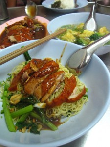Noodles and roasted duck