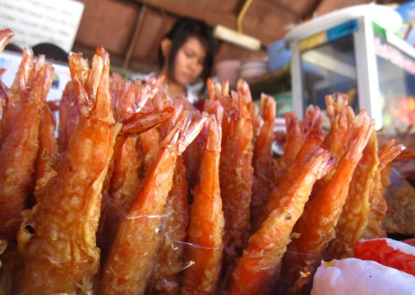 Rows of Deep Fried Shrimp