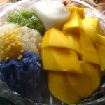 Food Photo: Colorful Sticky Rice and Mango