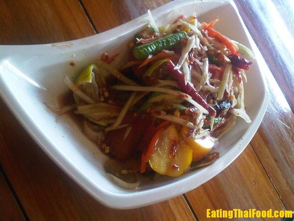 Papaya salad with feremented crab