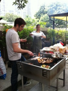 Dylan on the grill