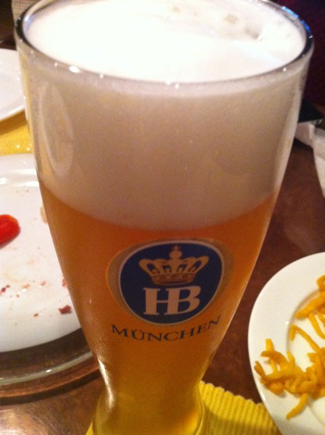 a half liter of Hefeweizen draft beer