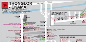 Map of Thonglor Ekamai Restaurants, Bars, & Attractions