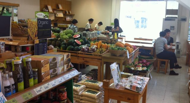 A few tables available in the corner of the Lemon Farm Organic Store