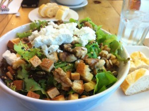 salad and bread on the table at Cafe Tartine