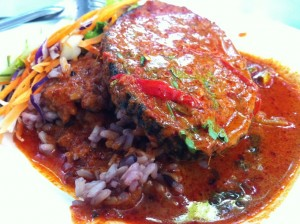 Spicy Red Choo Chee Curry Over Fake Fish and Brown Rice at Baan Suan Pi in Ari ข้าวกล้องฉู่ฉี่ปลาเจ