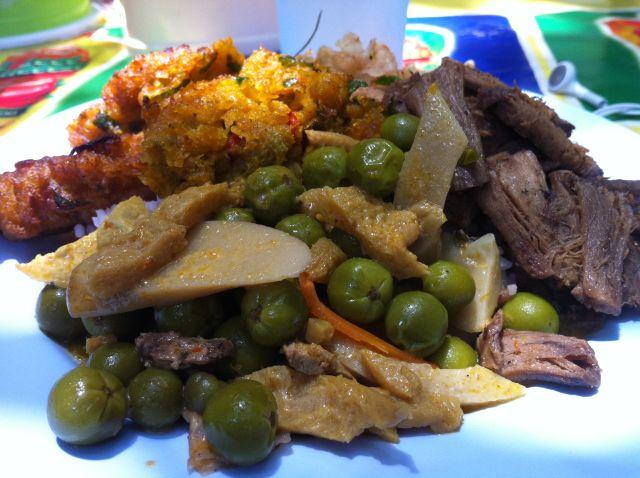 A $2 plate of vegetarian Thai food at Pooja's favorites restaurant, Tai Sin