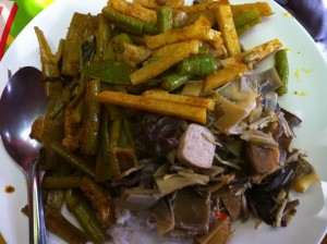 A full plate of tasty, cheap vegetarian Thai food