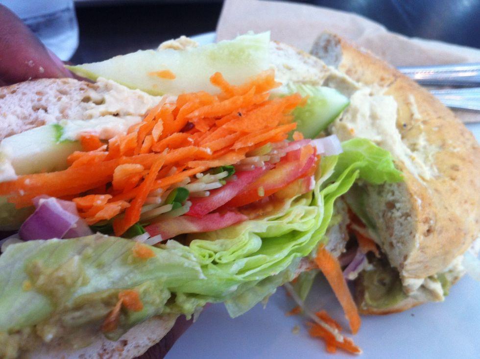 Vegan Veggie Monger Bagel Cross Section