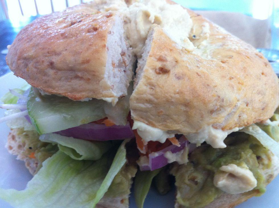 Veggie Monger Bagel at BKK Bagel Bakery
