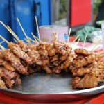 Platter of Thai Style Grilled Pork Sticks (Moo Ping)