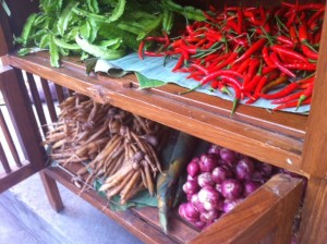 Organic produce on display at the Farmers' Market hosted by Bo.lan Restaurant