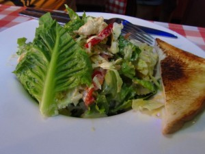 Chicken salad covered in Chef Odd signature house dressing