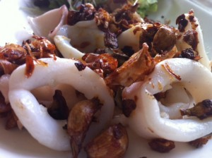 Fried squid, garlic and onion appetizer