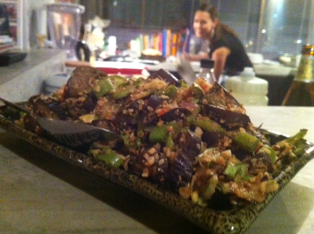 Thai style aubergine and crunchy coconut salad.