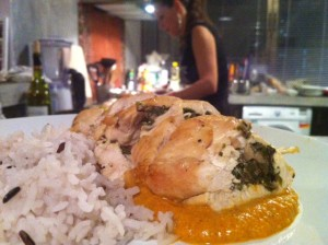 Indian spiced spinach and mushroom chicken breast with tikka masala sauce