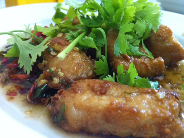 Deep fried and chili covered fish