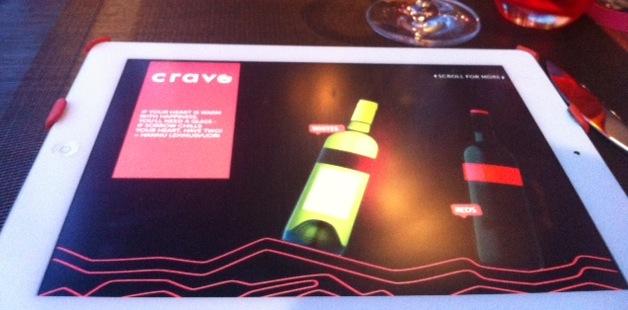 Futuristic wine menu