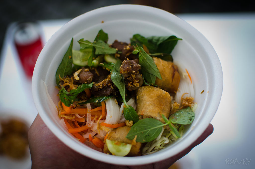 A bowl of 'bun' a famous noodle salad dish from Vietnam by Vietnamese & More.