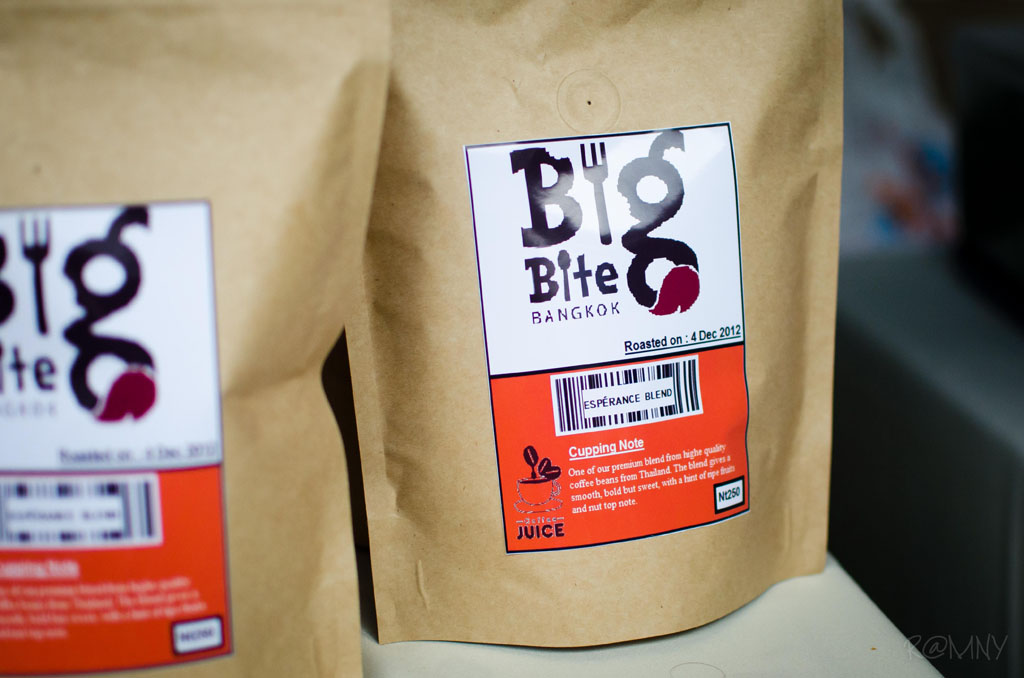 Premium Coffee from Northern Thailand wearing the Big Bite Logo.