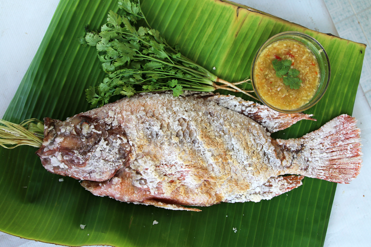 Authentic thai grilled fish recipe pla pao for Cooking fish on the grill