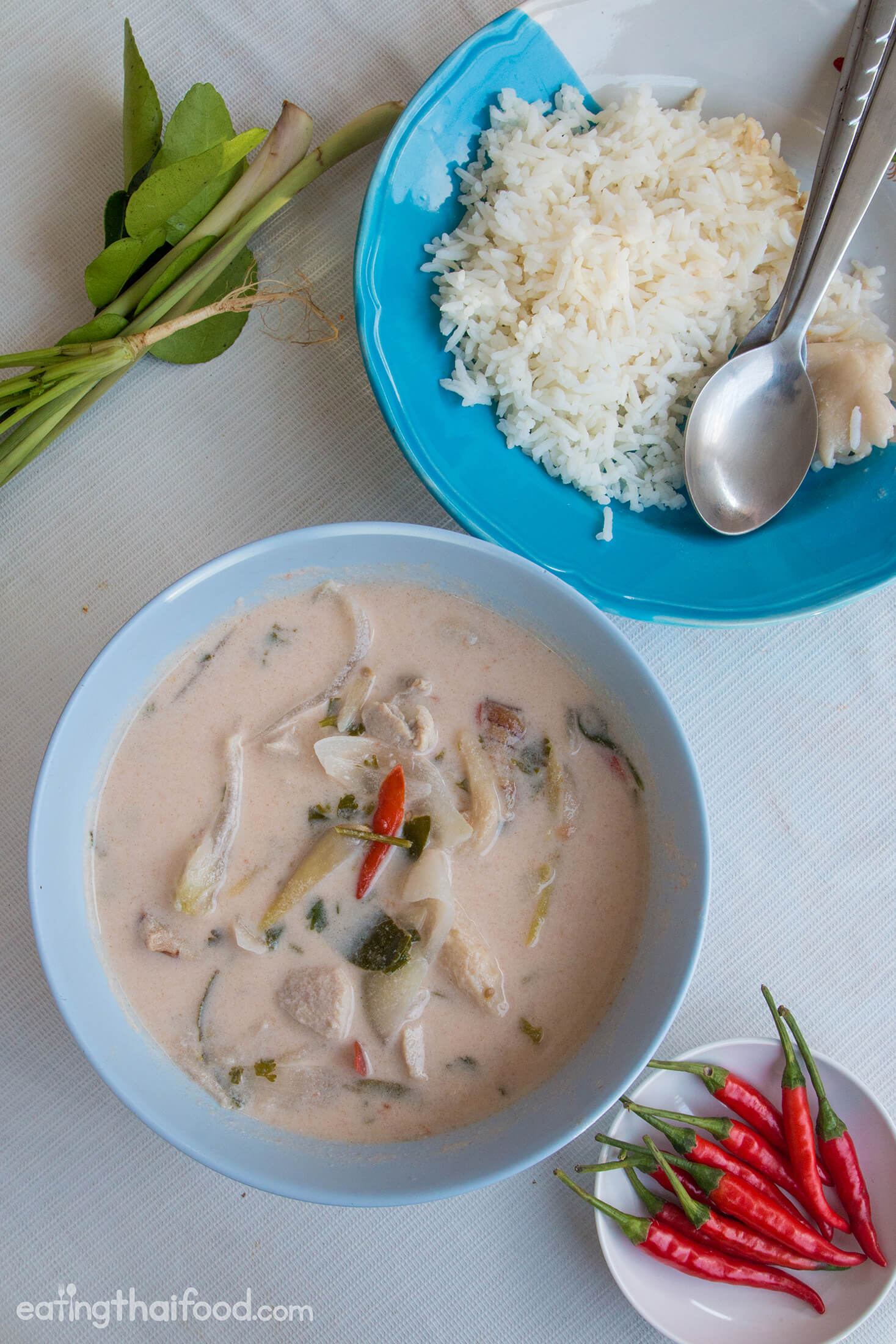 Eat your tom kha gai with fresh steamed rice