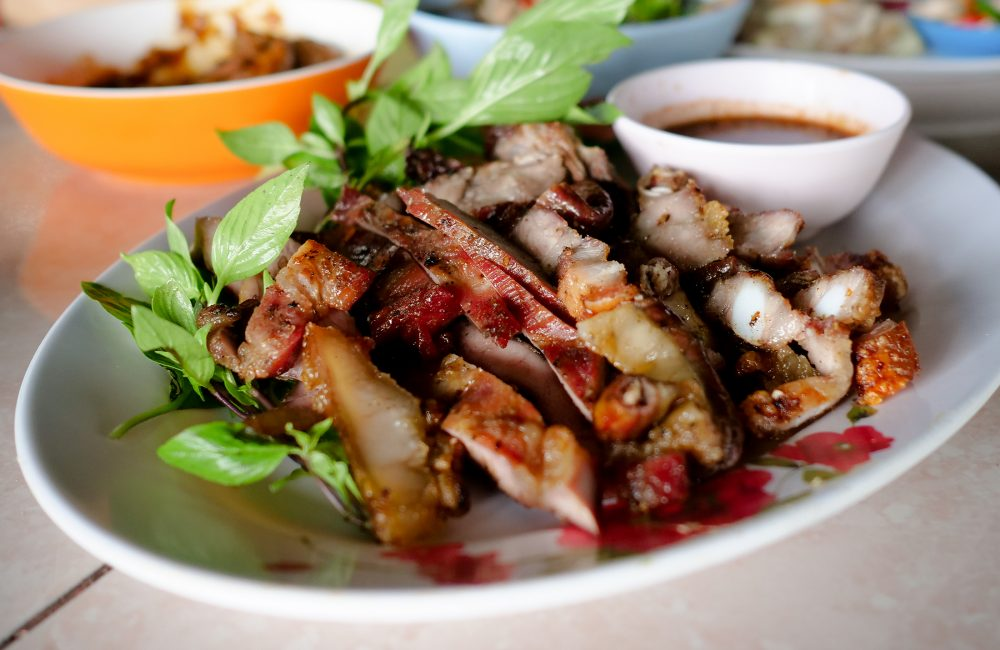 Amazing amounts of grilled pork at Kum Sang Dao
