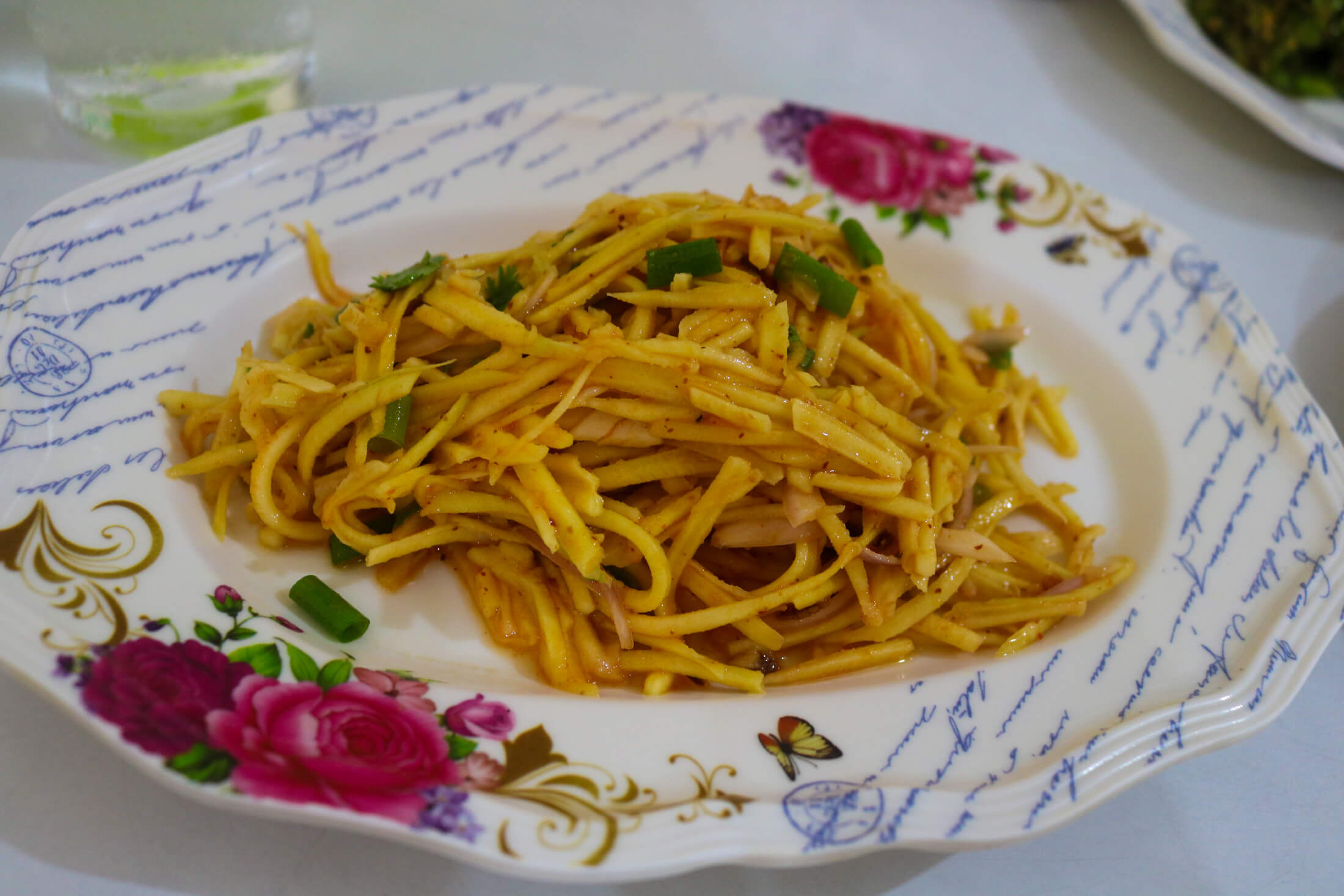 sour mango salad is full of surprisingly unique flavor, Burmese food in Chiang Mai